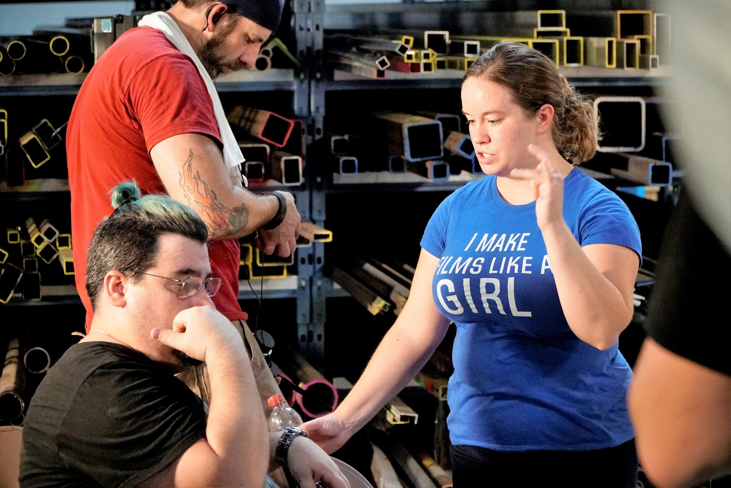 Stefanie and Scott Sullivan on set [Photo by Adam Breo]