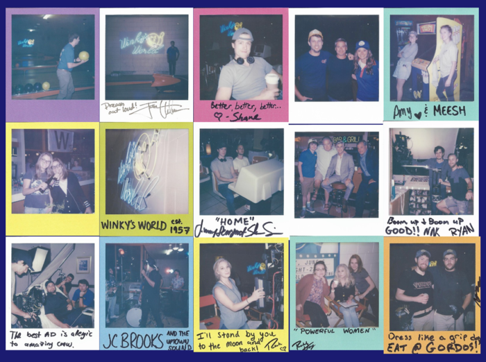Polaroids of the cast and crew taken on set