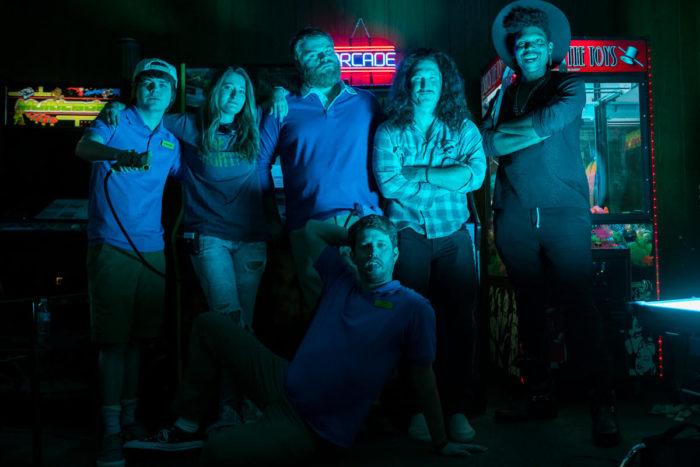 (left to right) Brendan Meyer (Stanford), Kendall Goldberg, Steve Berg (Frank), Jon Heder (Jeff), Nicky Excitement (Himself), JC Brooks (Himself)