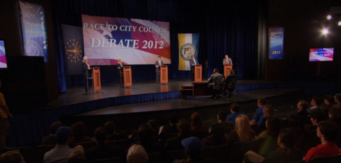 """#Crucial21DbW: Parks and Recreation – S4E20 – """"The Debate"""" directed by Amy Poehler"""